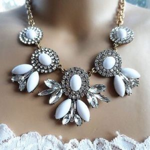 J. Crew White and Rhinestone Flower Necklace
